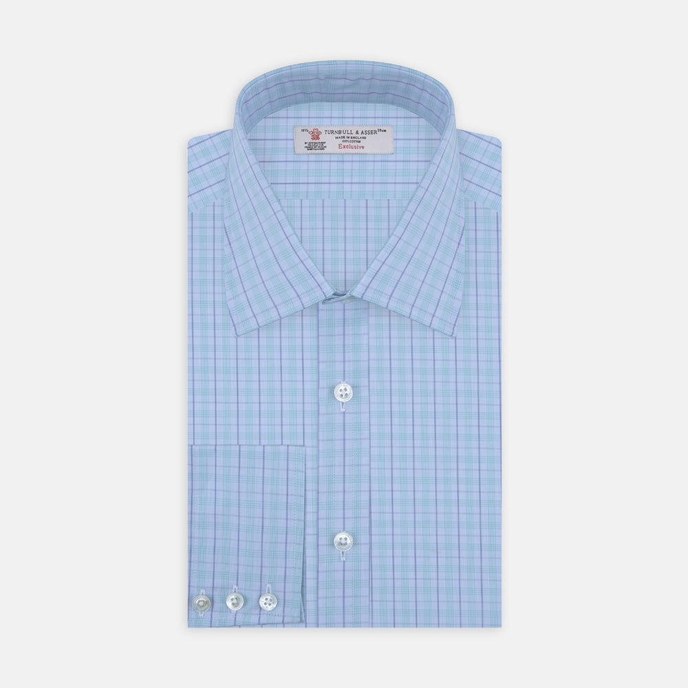 Green and Blue Windowpane Check Shirt with T&A Collar and 3-Button Cuffs