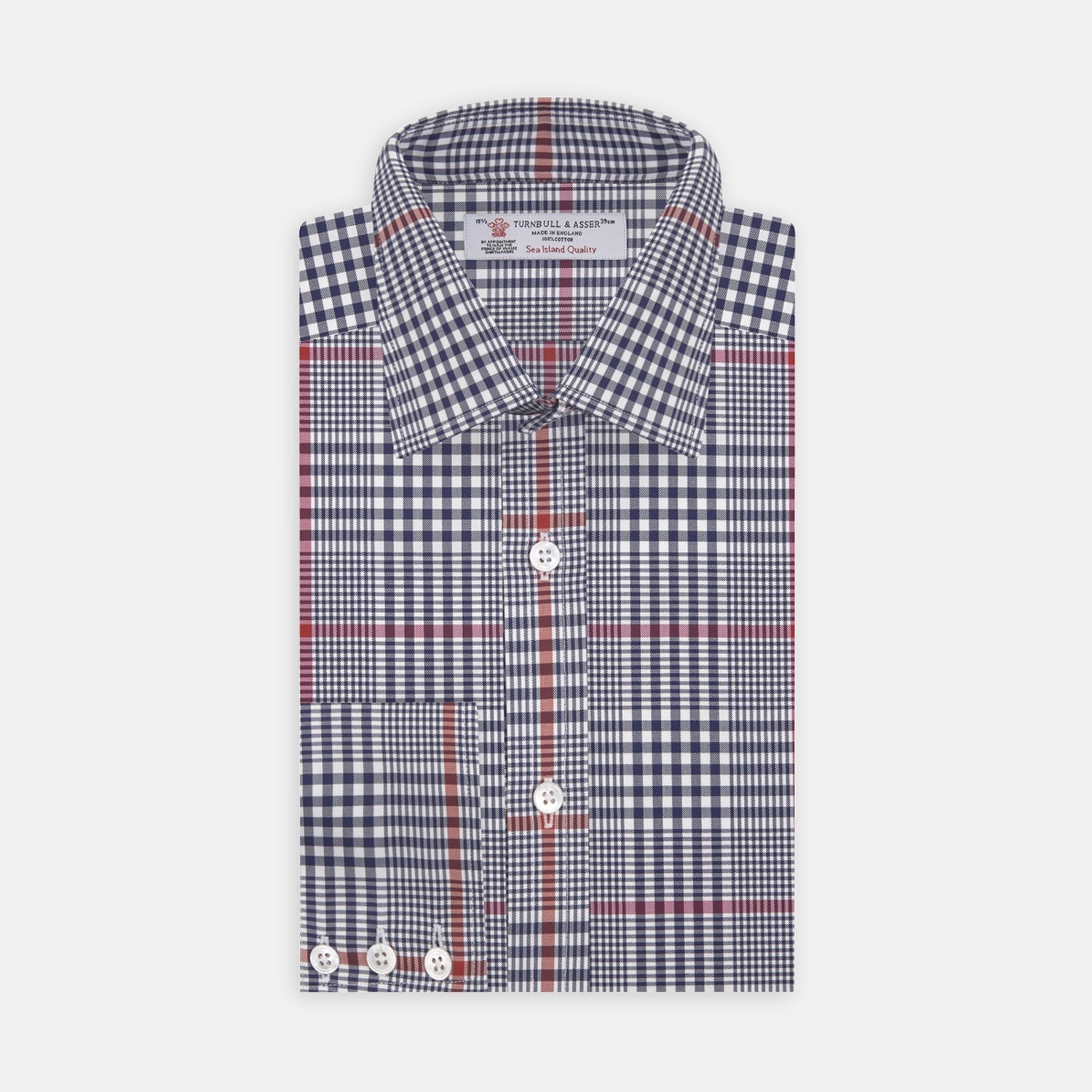 Navy and Red Prince of Wales Wide Check Cotton Fabric