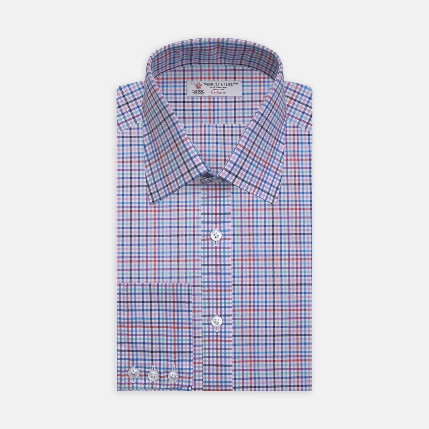 Blue, Pink and Red Graph Check Shirt with T&A Collar and 3-Button Cuffs