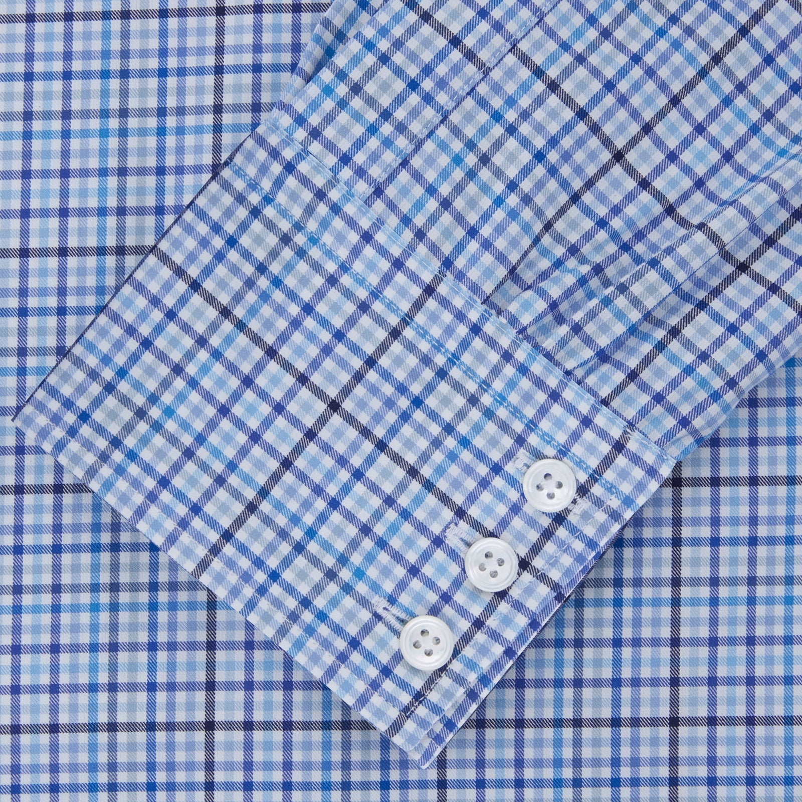 Blue and White Graph Check Shirt with T&A Collar and 3-Button Cuffs