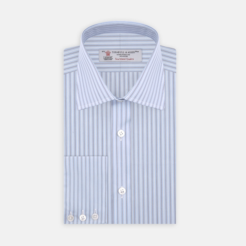Navy and Light Blue Double Stripe Sea Island Quality Cotton Shirt with T&A Collar and 3-Button Cuffs