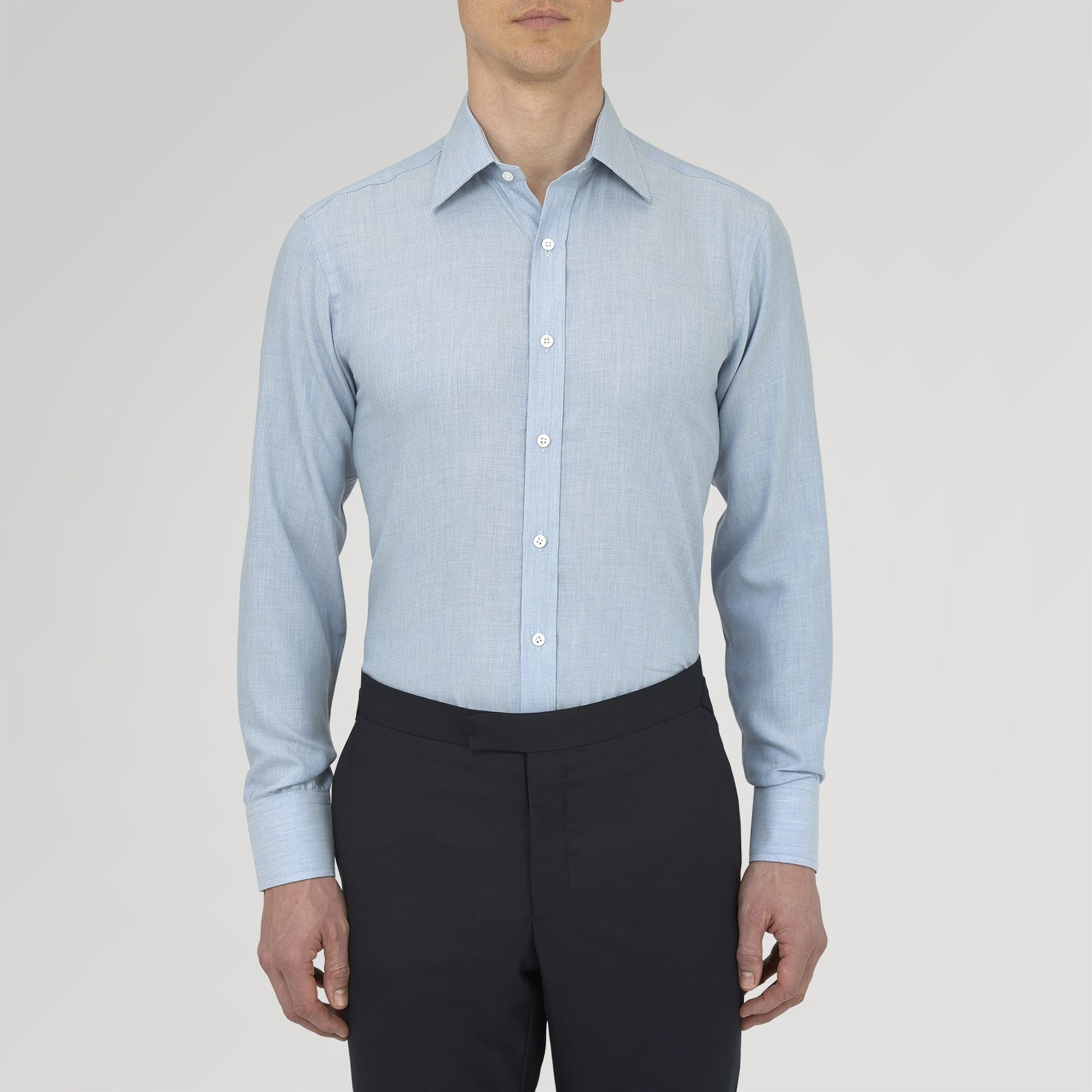 Blue Cashmere Blend Shirt with T&A Collar and 3-Button Cuffs