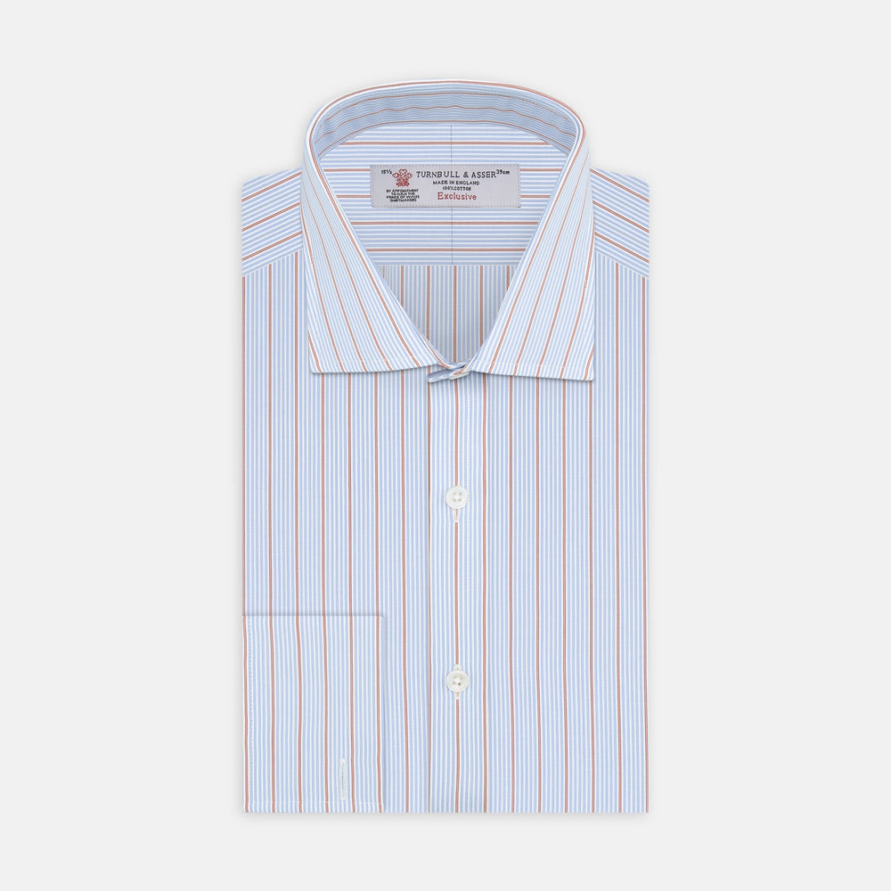 Sky Blue and Pink Pinstripe Shirt with Regent Collar and Double Cuffs
