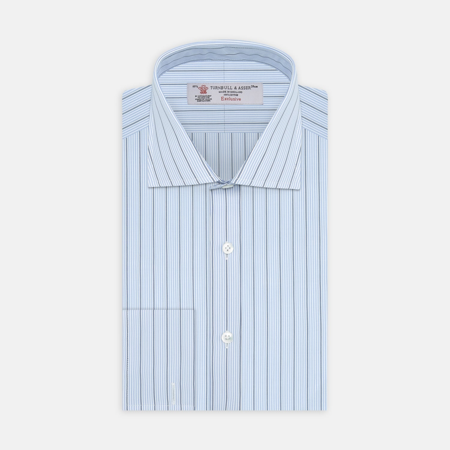 Sky Blue and Turquoise Pinstripe Shirt with Regent Collar and Double Cuffs