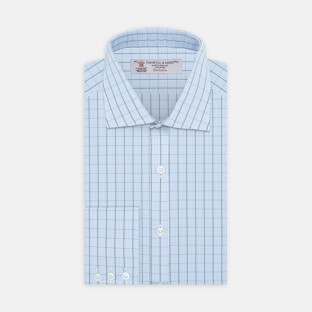 Sky Blue and Turquoise Pin Check Shirt with Regent Collar and 3-Button Cuffs