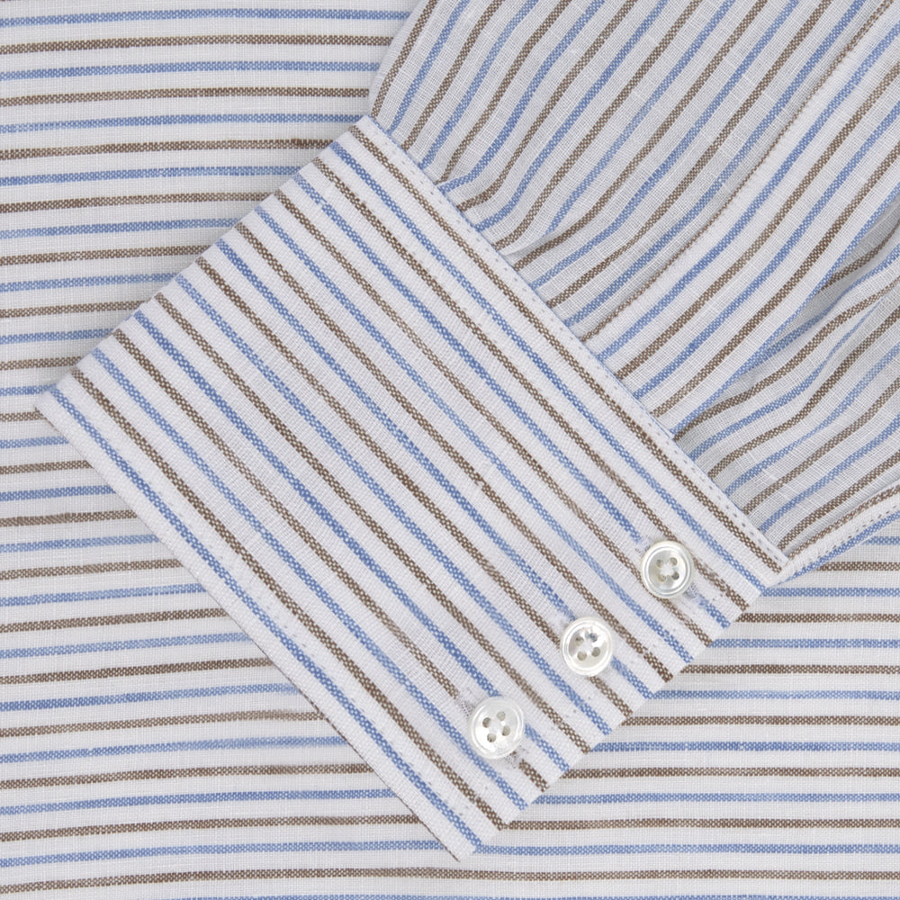 Brown and Blue Ticking Stripe Linen Shirt with POW Collar and 3-Button Cuffs