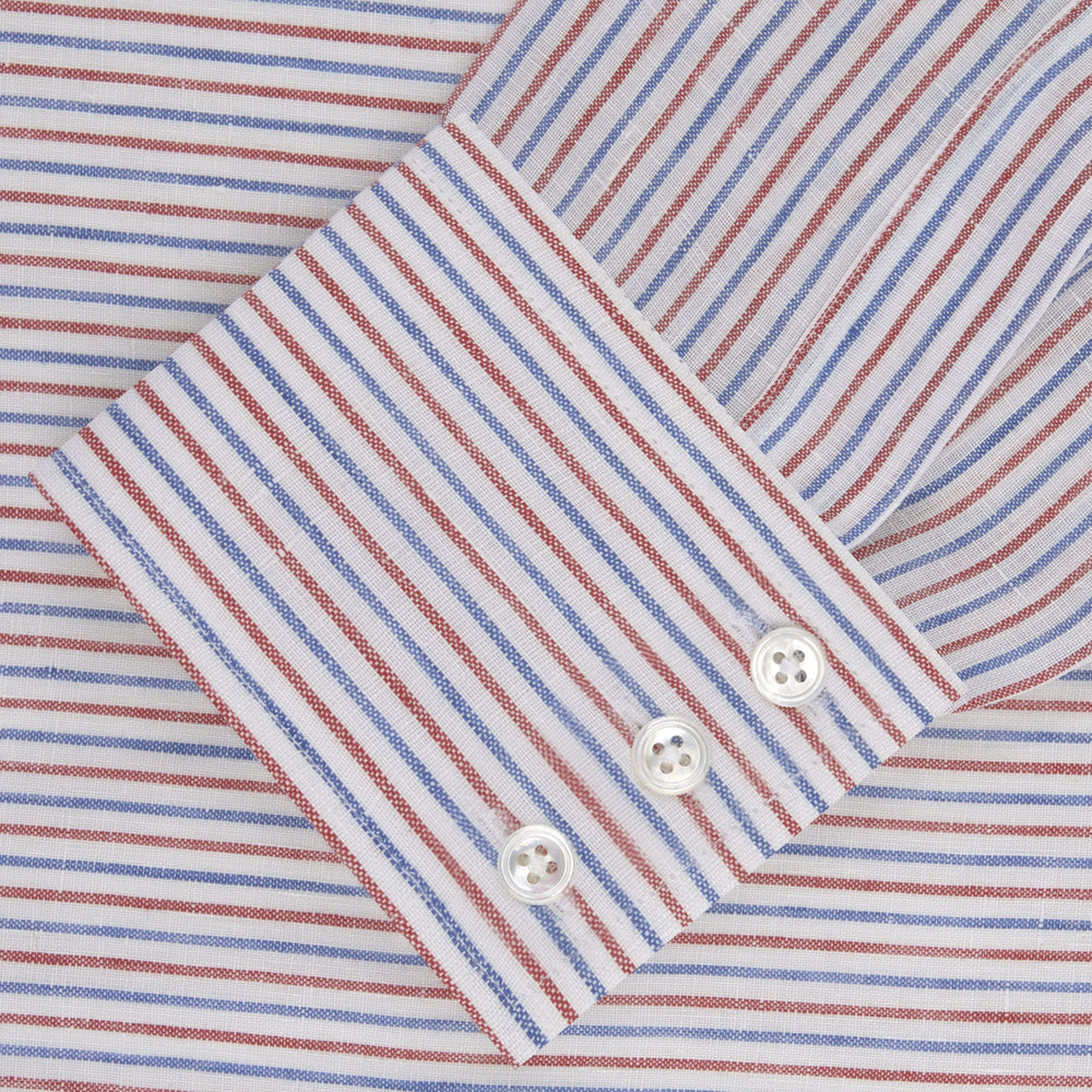 Red and Blue Ticking Stripe Linen Shirt with POW Collar and 3-Button Cuffs