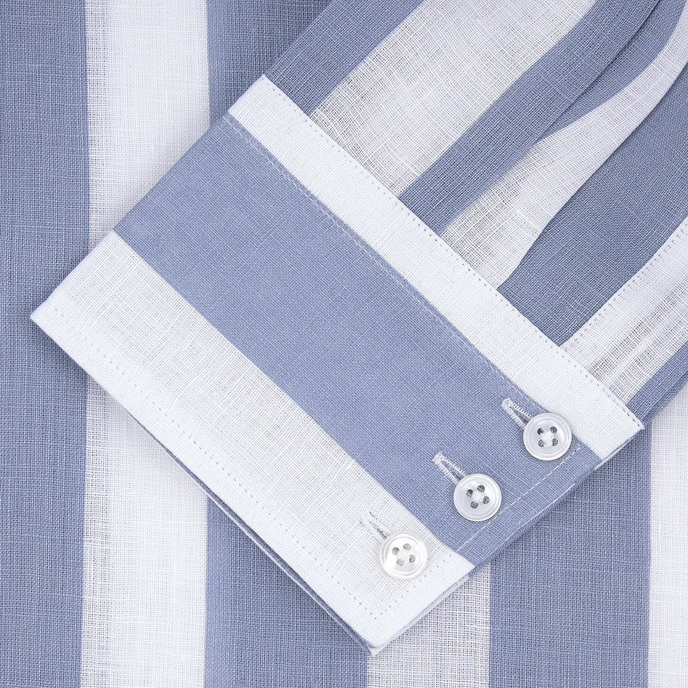 Tailored Fit Blue and White Stripe Linen Shirt with Concealed Button-Down Collar and Button Cuffs