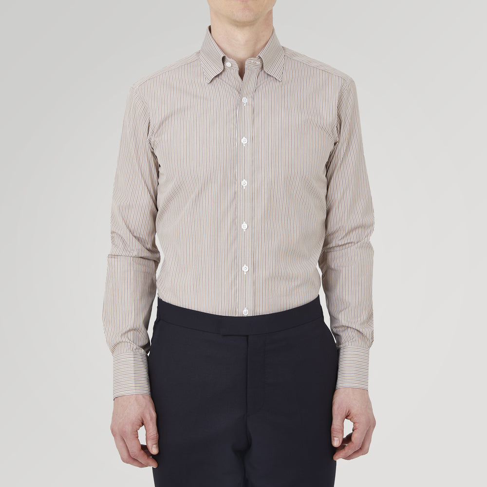 Tailored Fit Brown Fine Stripe Shirt with Bury Collar and 3-Button Cuffs