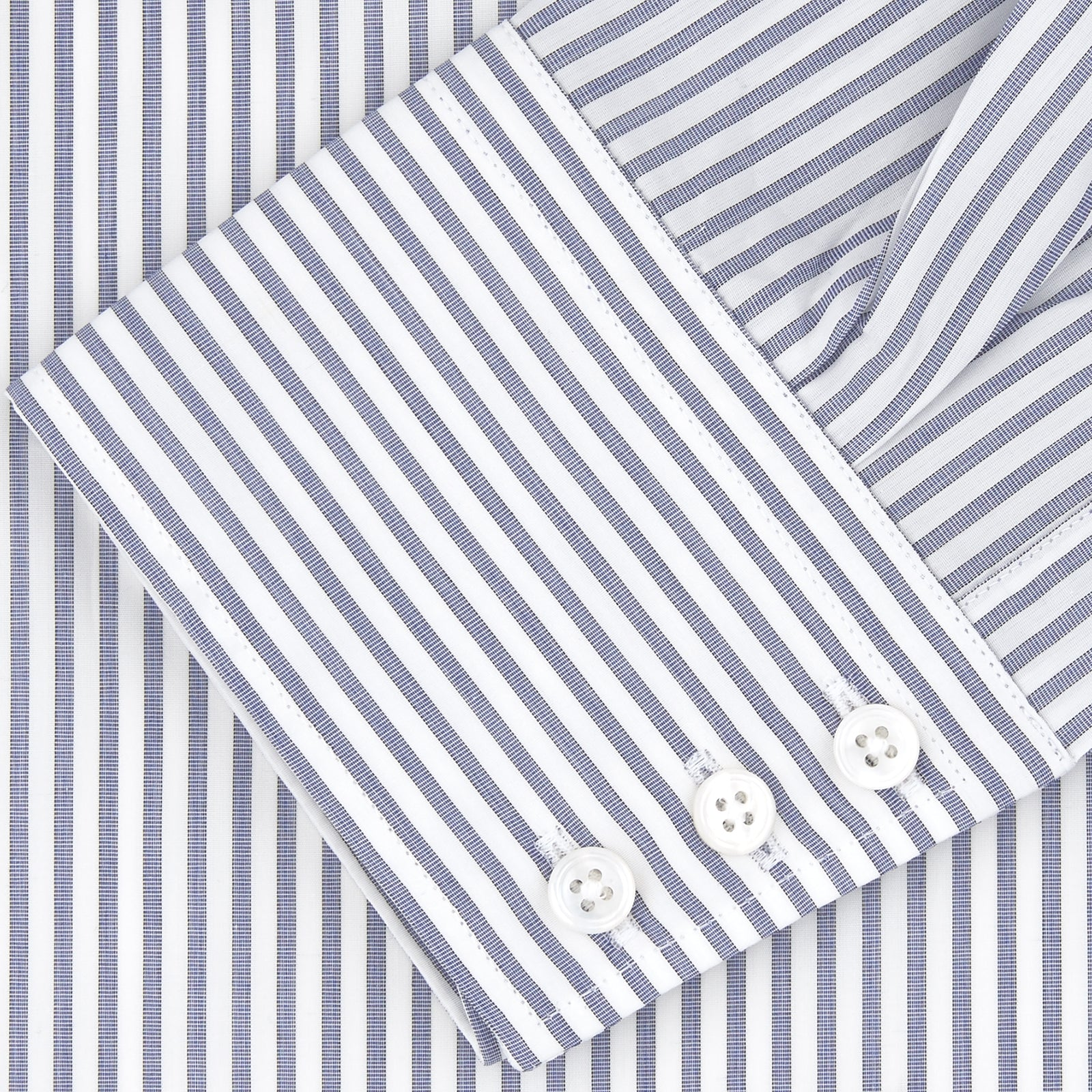 Tailored Fit Blue and White Stripe Sea Island Quality Cotton Shirt with Bury Collar and 3-Button Cuffs