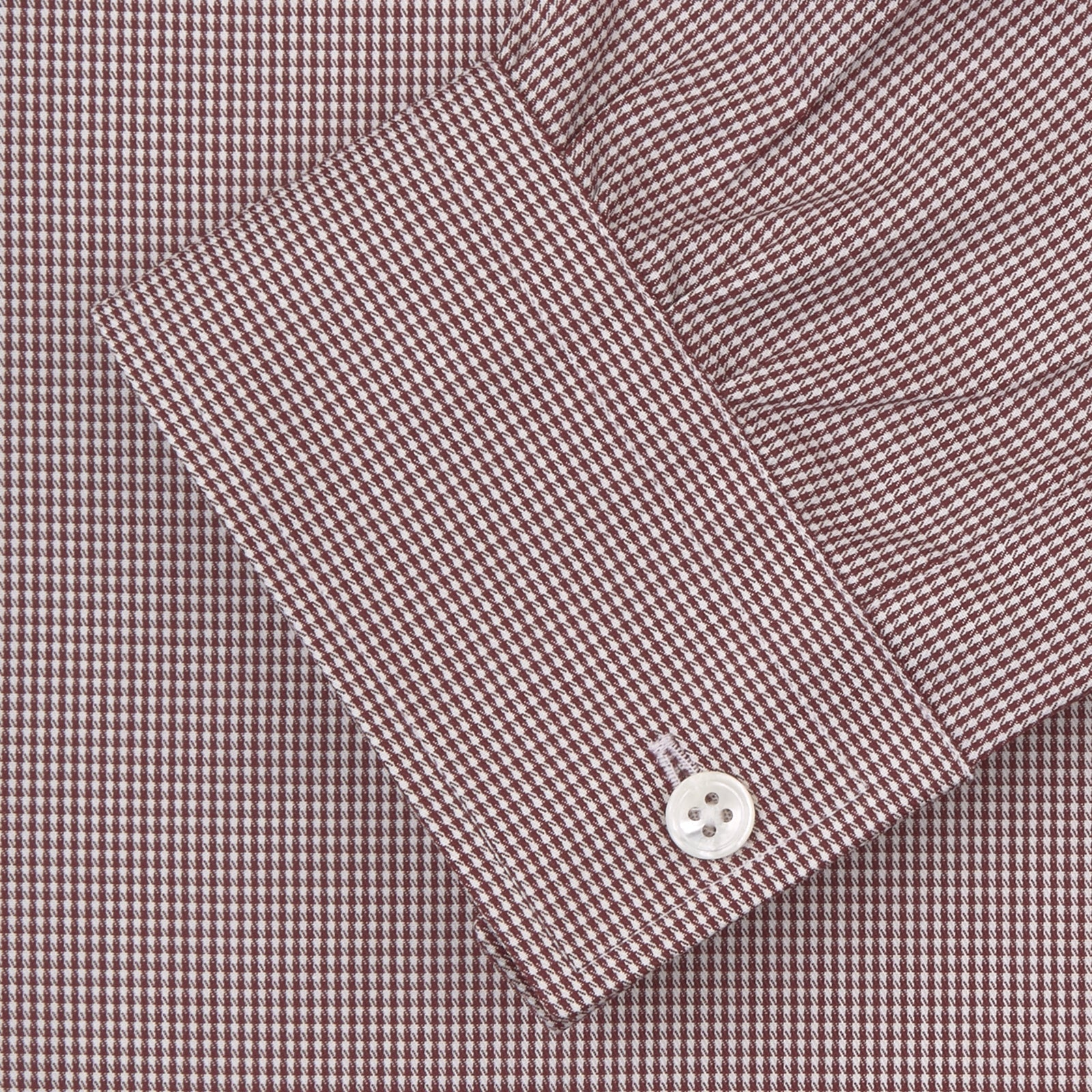 Weekend Fit Burgundy Puppytooth Shirt with Dorset Collar and 1-Button Cuffs