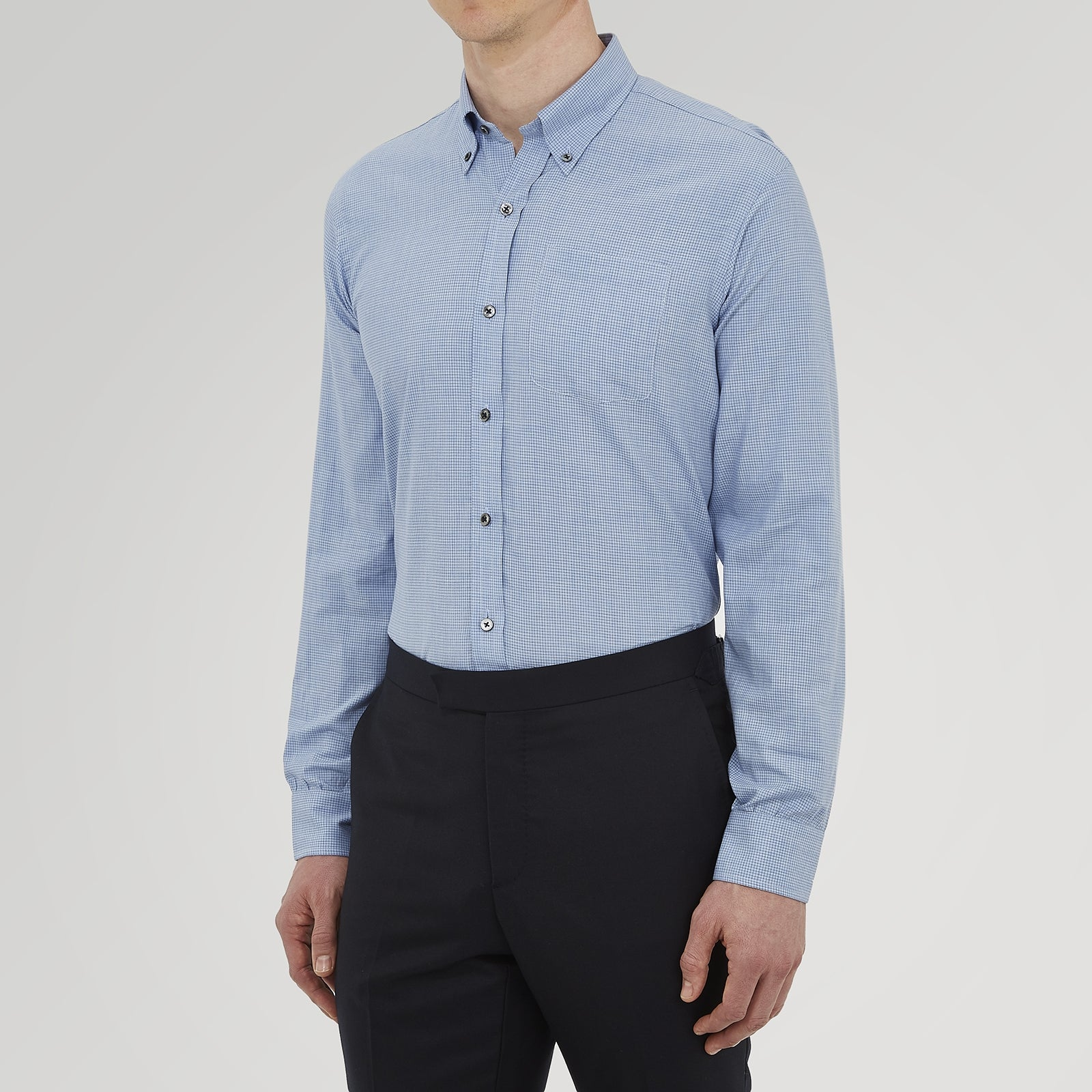 Weekend Fit Blue Cashmerello Light Shirt with Dorset Collar and 1-Button Cuffs