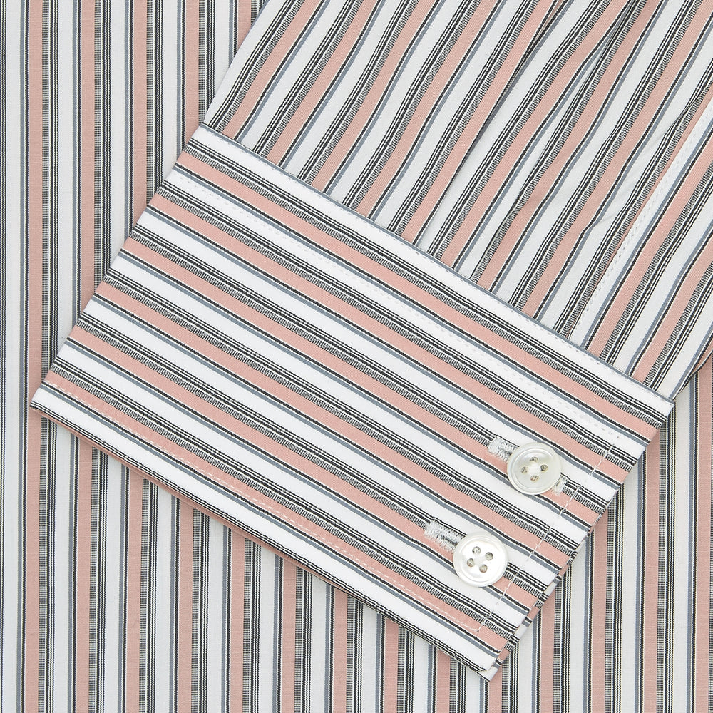 Tailored Fit Pink and Grey Drawing Stripe Shirt with Kent Collar and 2-Button Cuffs