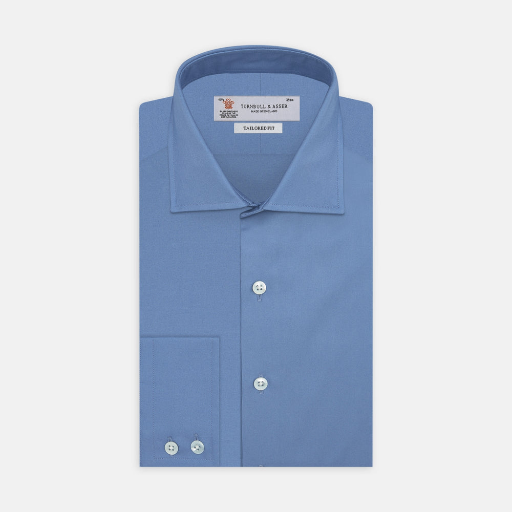 Tailored Fit Deep Blue Cotton Shirt with Kent Collar and 2-Button Cuffs