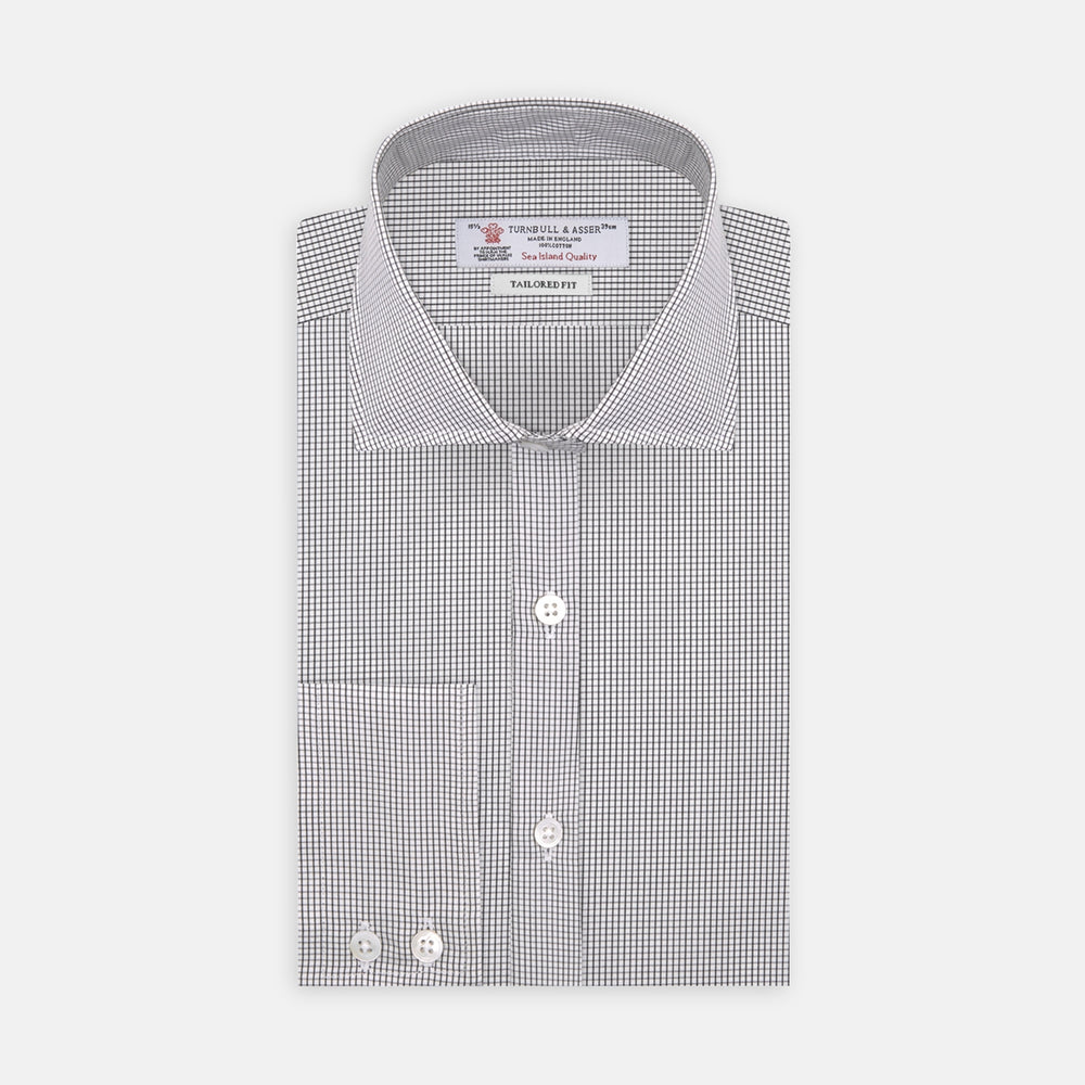 Tailored Fit Grey and White Small Check Shirt with Kent Collar and 2-Button Cuffs