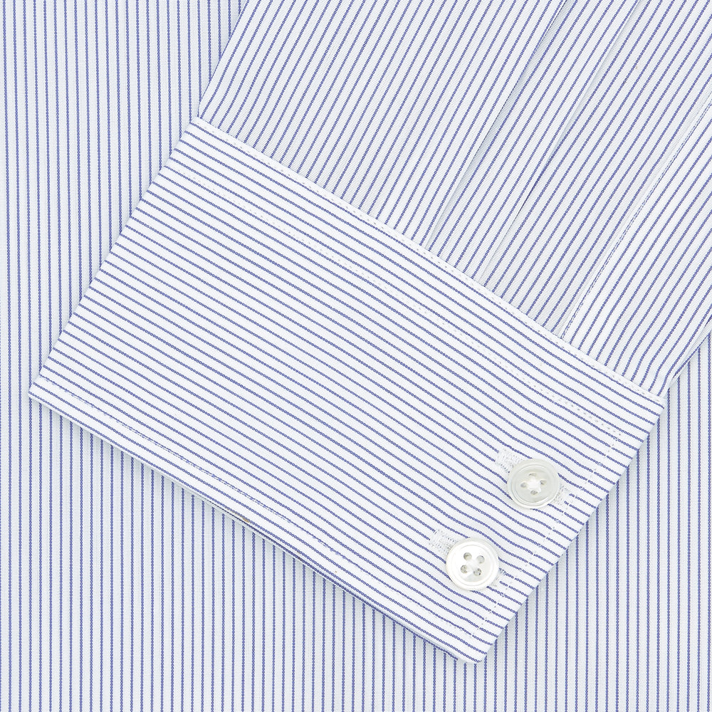 Tailored Fit Blue and White Fine Stripe Shirt with Kent Collar and 2-Button Cuffs