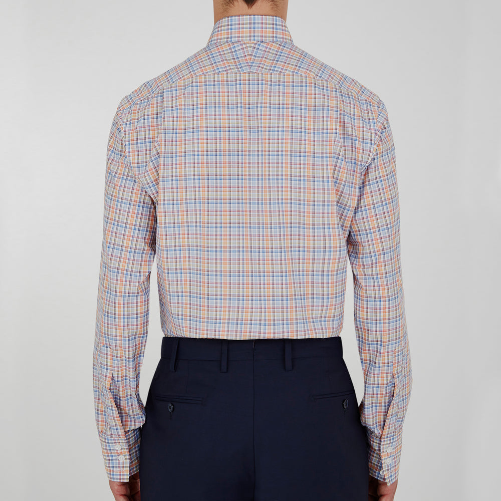 Navy and Orange Multi Micro Check Cotton Shirt with Classic T&A Collar