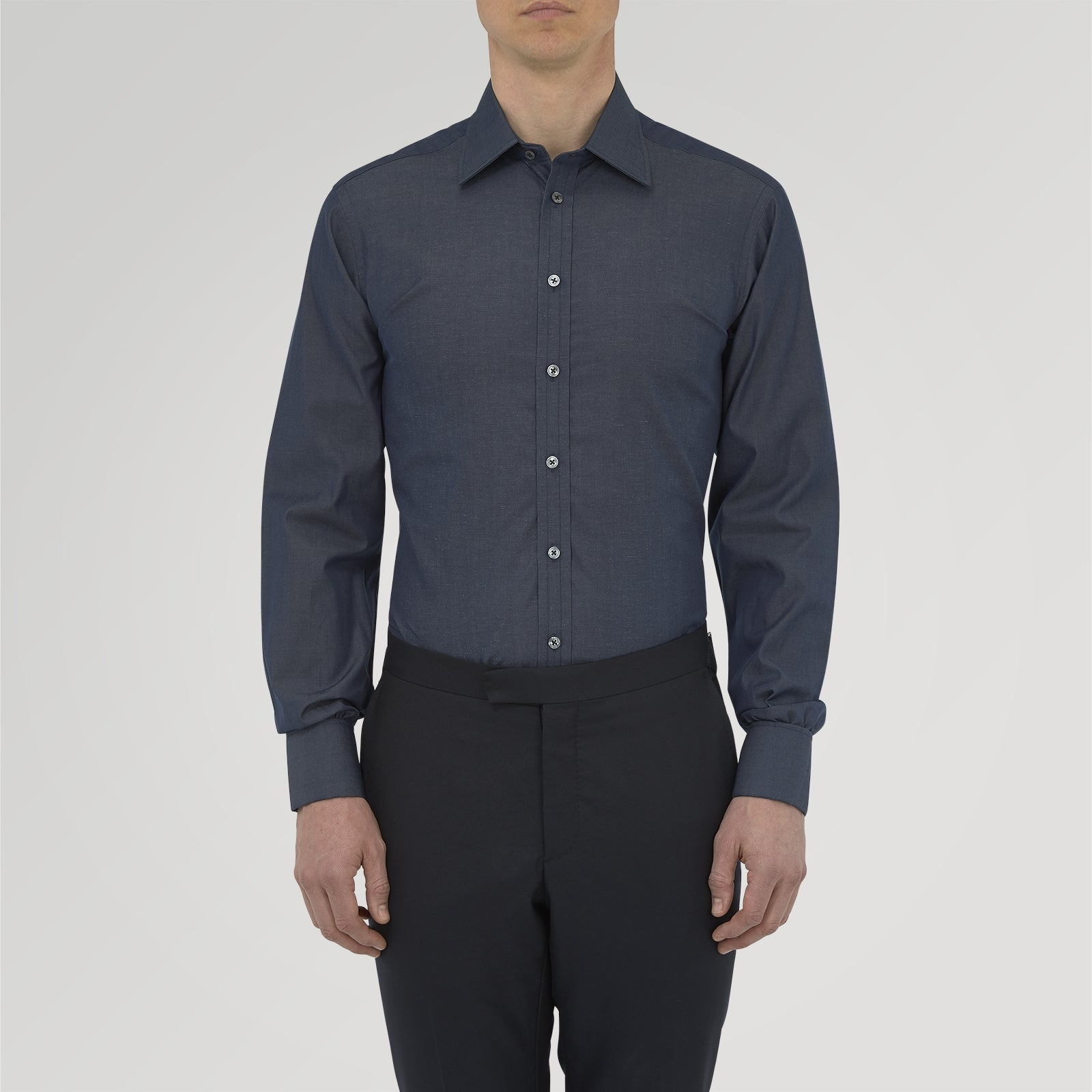 Dark Blue Denim-Cashmere Shirt with T&A Collar and Double Cuffs