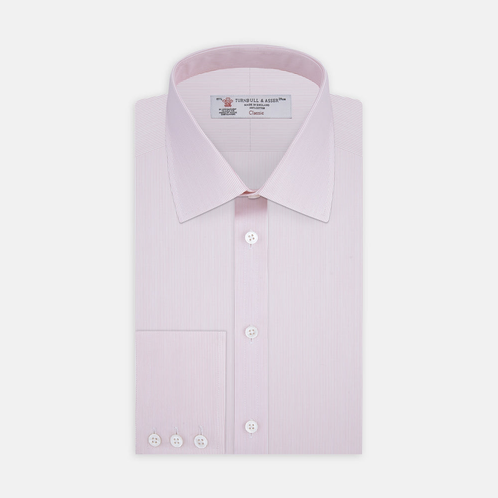 Pink Hairline Stripe Shirt with T&A Collar and 3-Button Cuffs