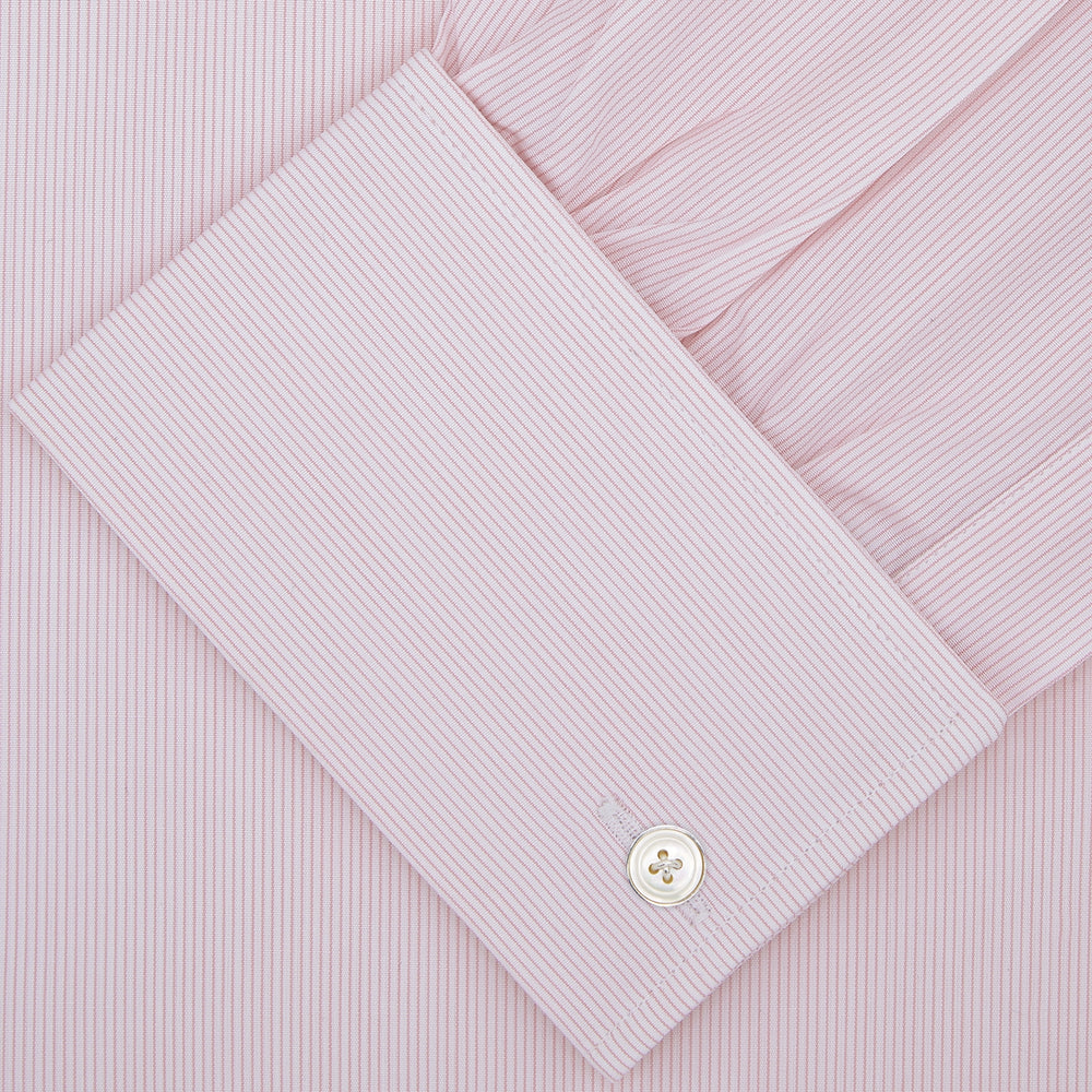 Pink Hairline Stripe Cotton Shirt with T&A Collar and Double Cuffs