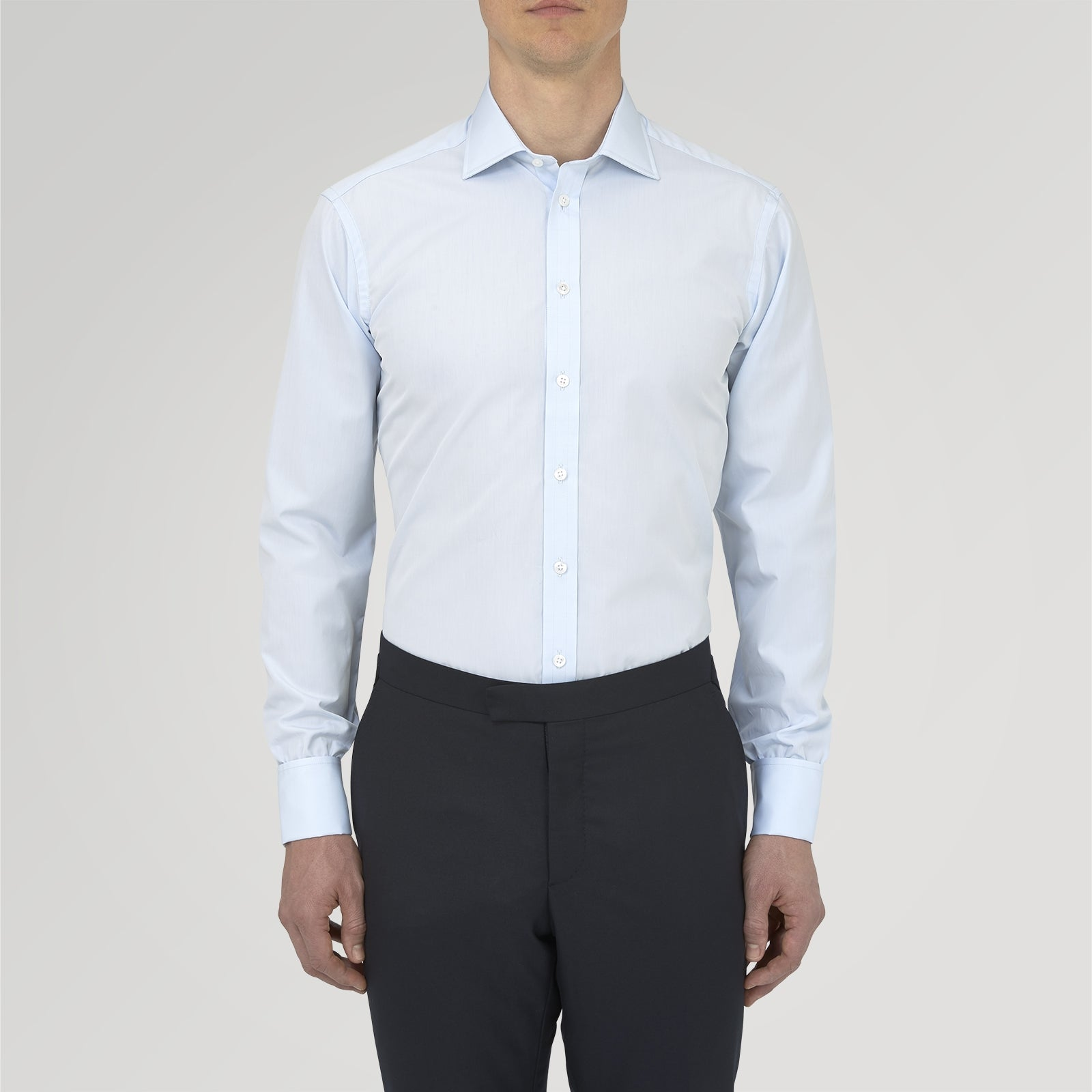 Two-Fold 120 Light Blue Shirt with Regent Collar and Double Cuffs