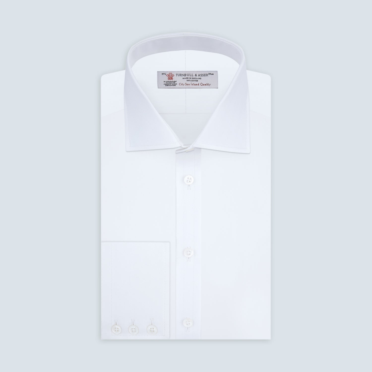 White West Indian Sea Island Cotton Shirt with T&A Collar and 3-Button Cuffs