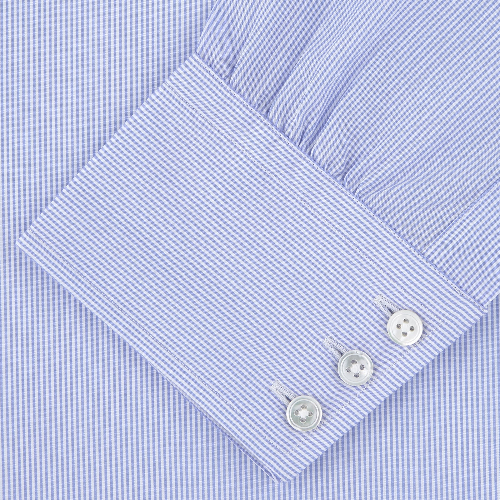 Blue and White Fine Bengal Stripe Sea Island Quality Cotton Shirt with T&A Collar and 3-Button Cuffs