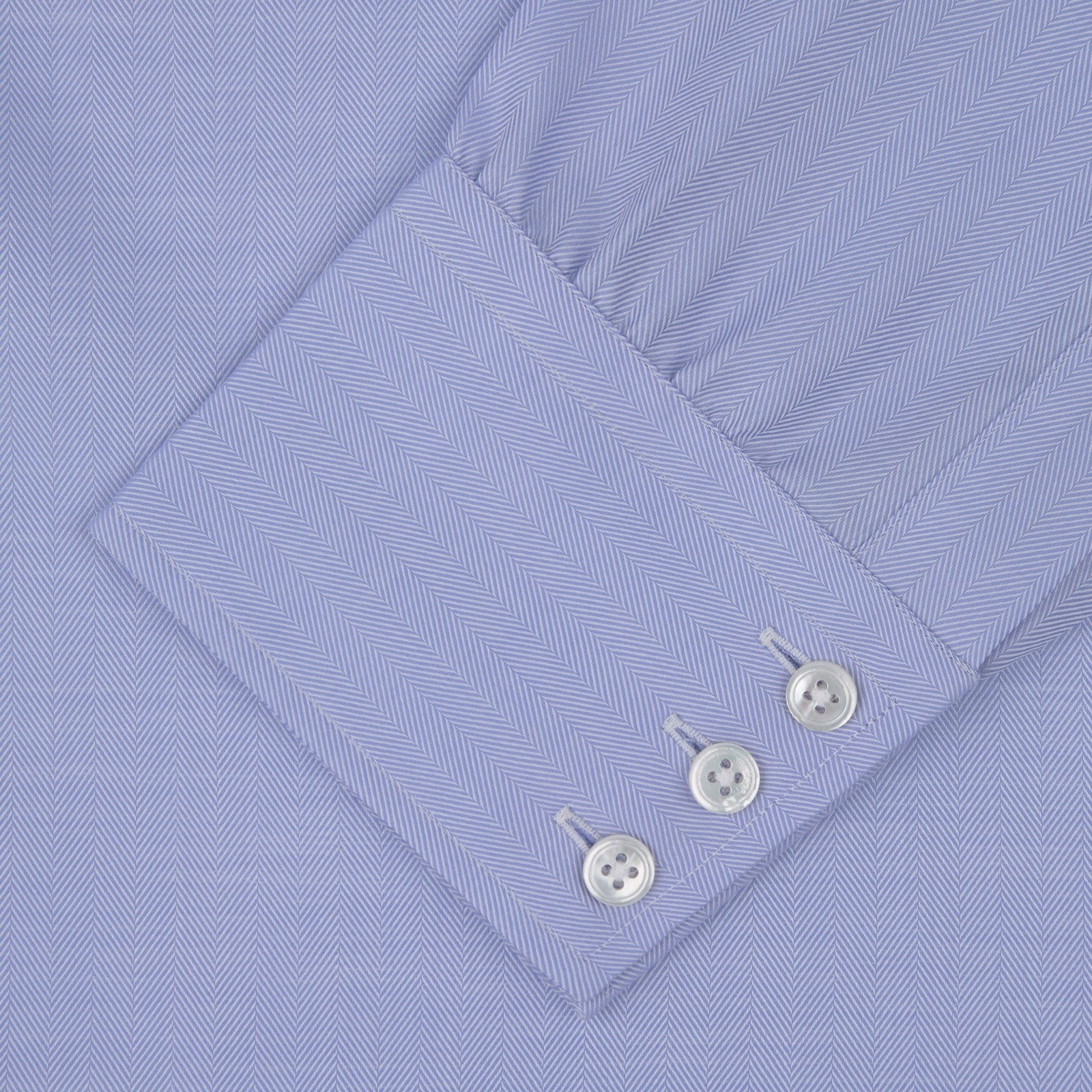 Blue Herringbone Sea Island Quality Cotton Shirt with T&A Collar and 3-Button Cuffs