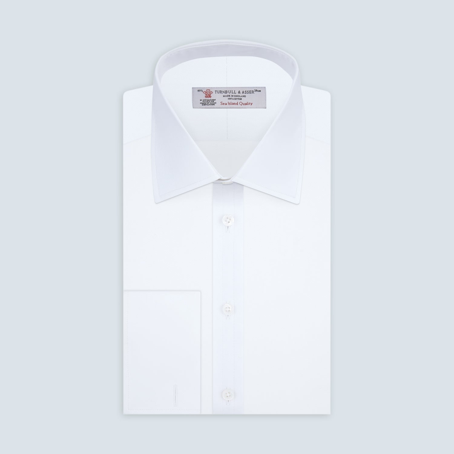 White Sea Island Quality Cotton Twill Shirt with T&A Collar and 3-Button Cuffs