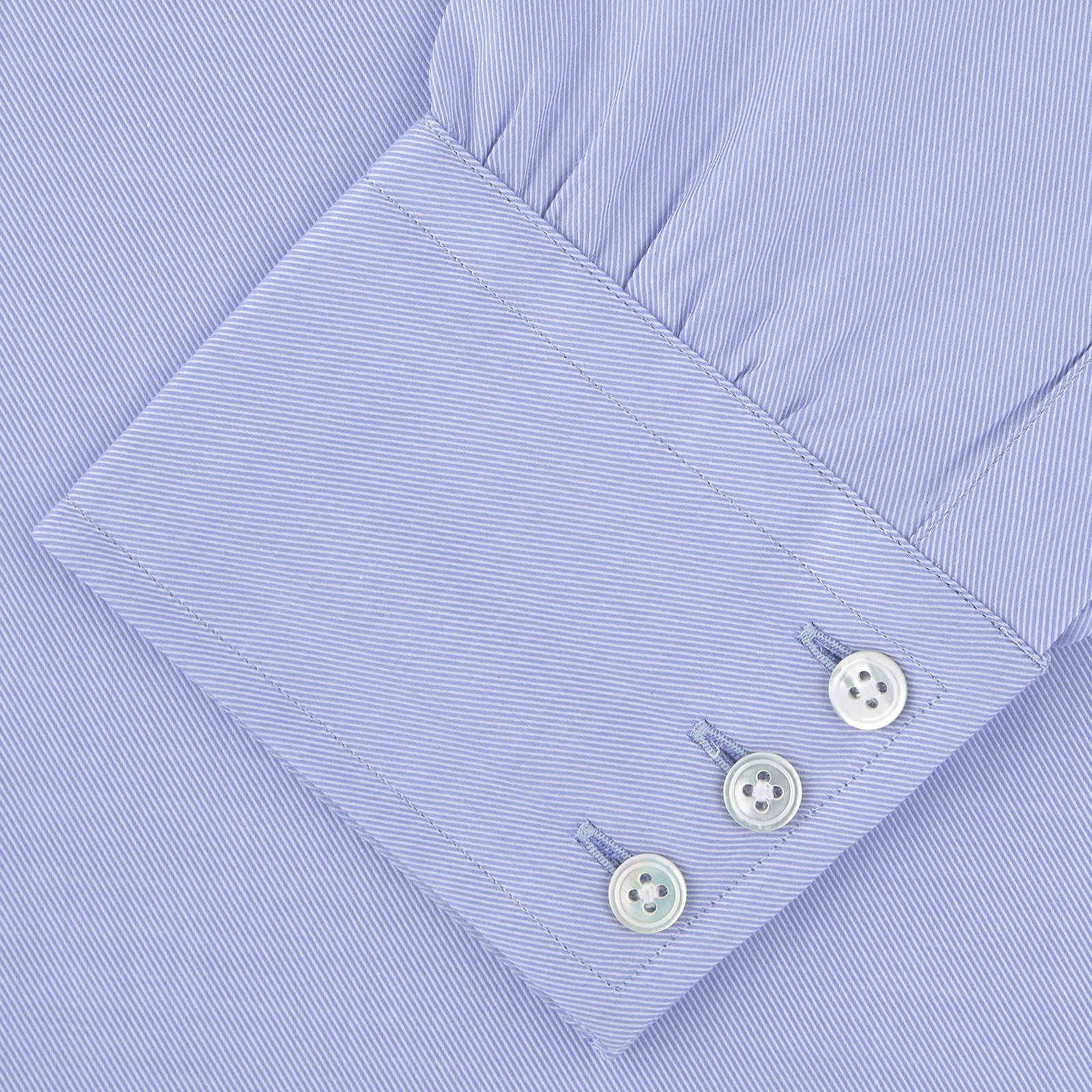 Blue Sea Island Quality Cotton Twill Shirt with T&A Collar and 3-Button Cuffs