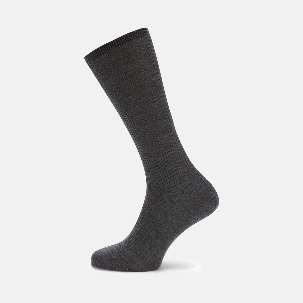 Dark Grey Mid-Length Merino Wool Socks