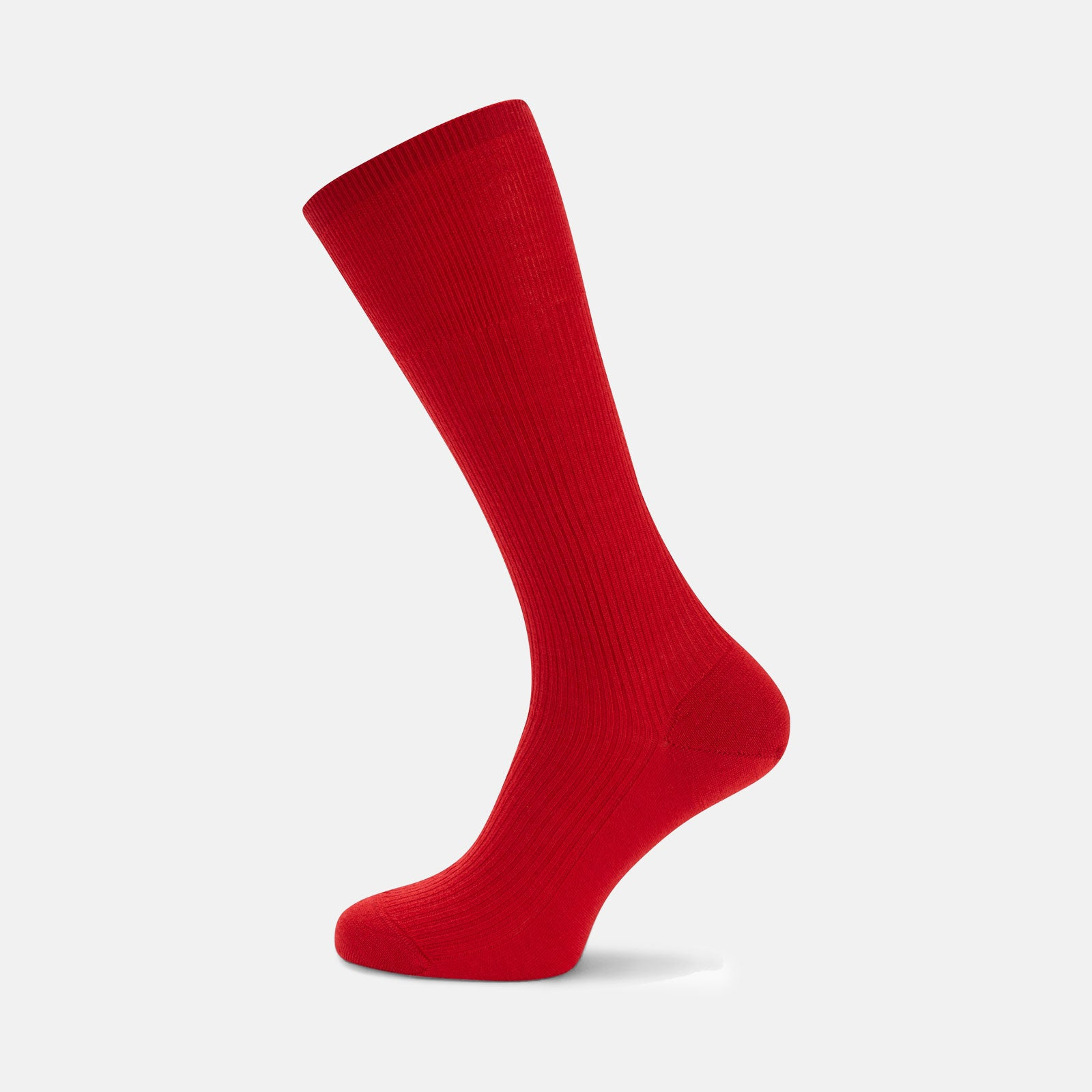 Red Mid-Length Merino Wool Socks