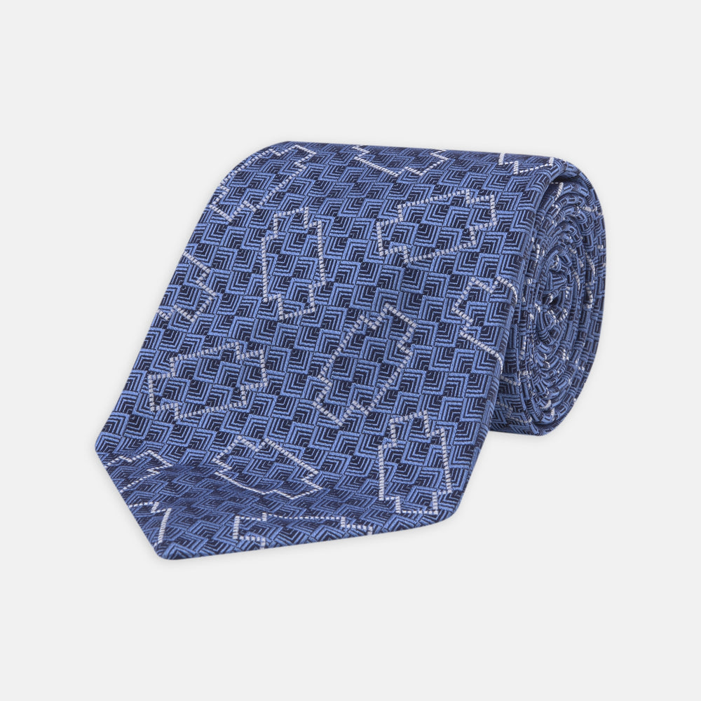 Geometric Blue and White Silk Tie