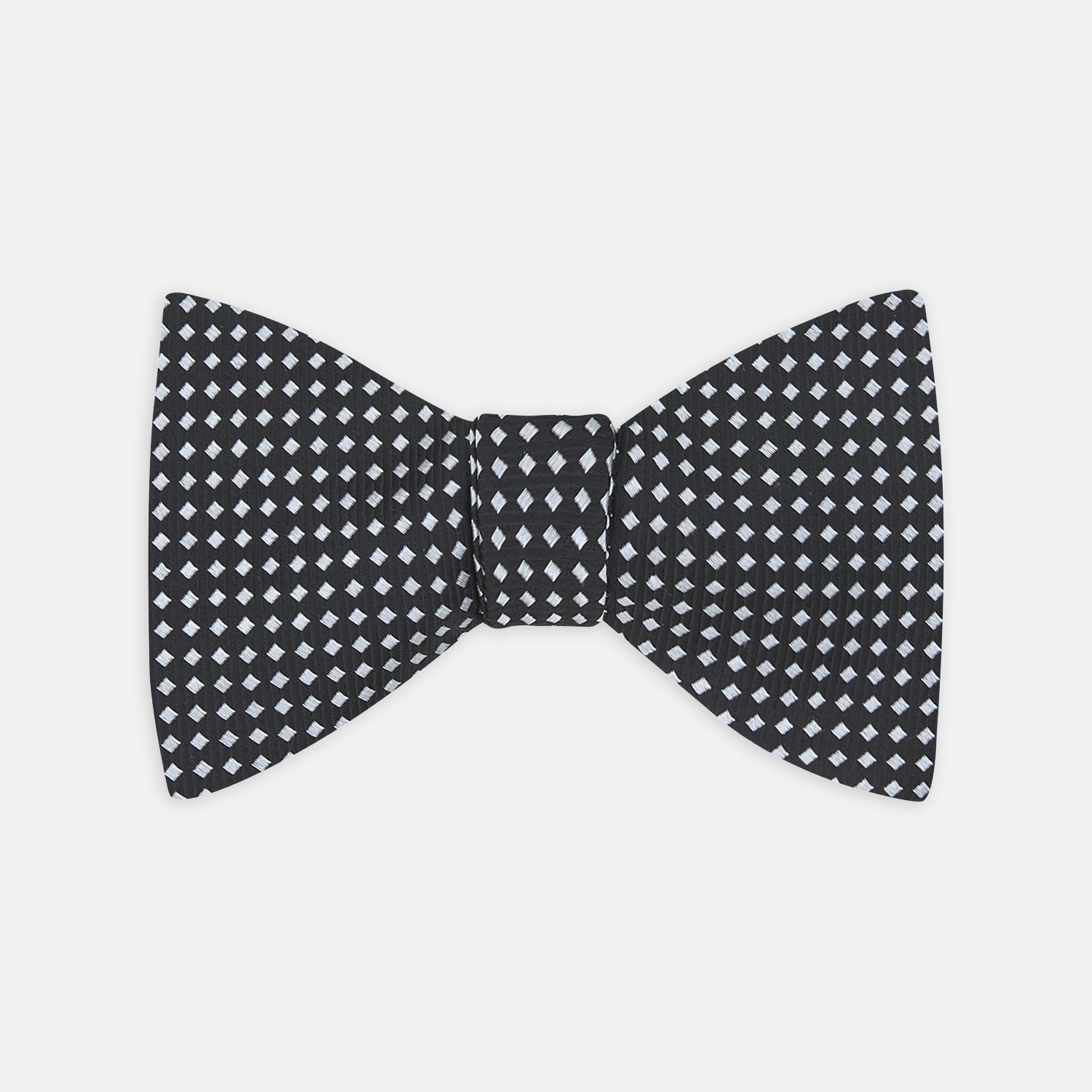 Diamond Black and White Silk Bow Tie