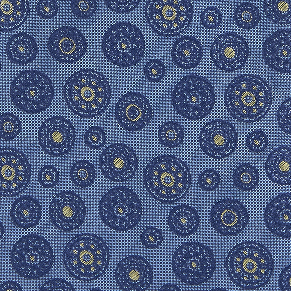 Navy Medallion Spot Silk Tie