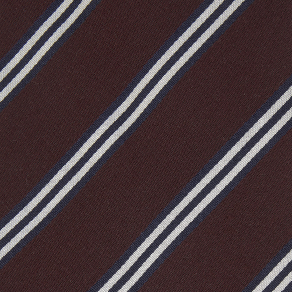 Burgundy Diagonal Stripe Cotton and Silk Tie