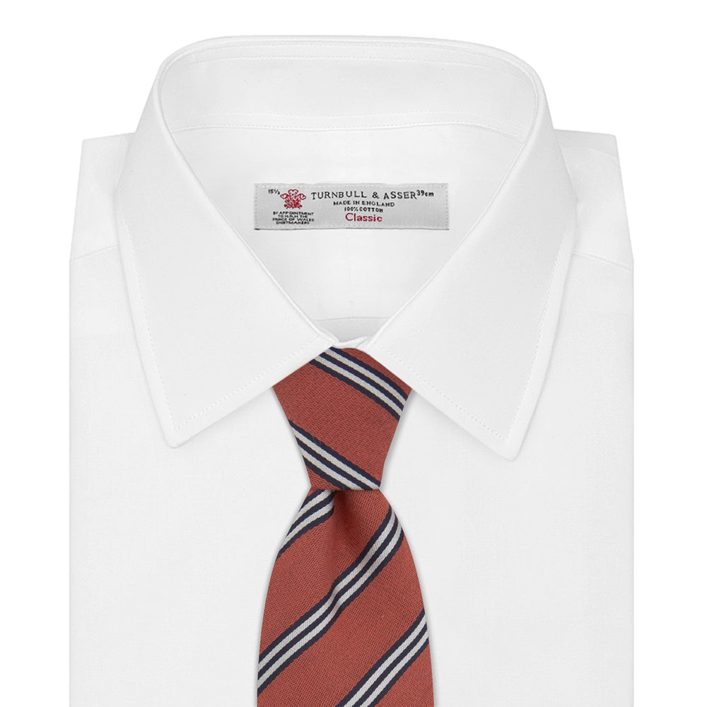 Soft Red Diagonal Stripe Cotton and Silk Tie