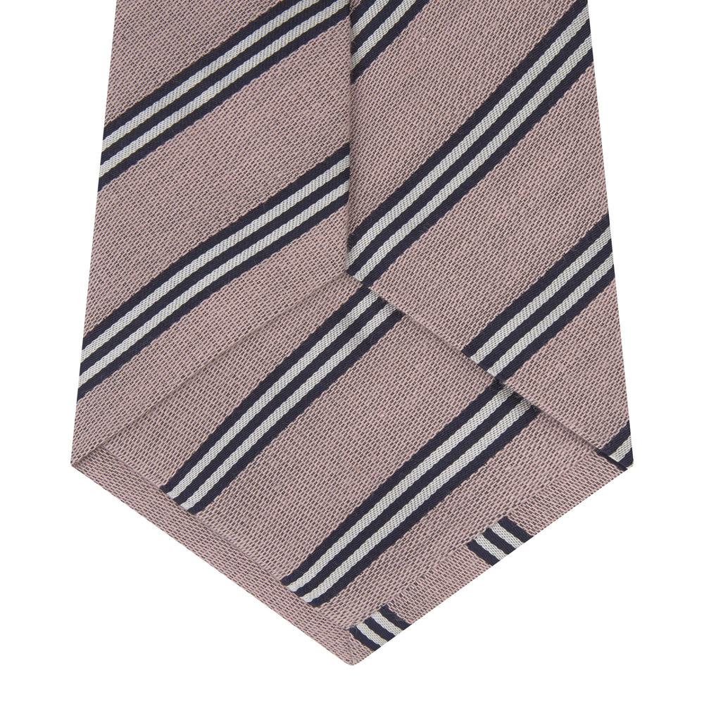 Pastel Pink Diagonal Stripe Cotton and Silk Tie