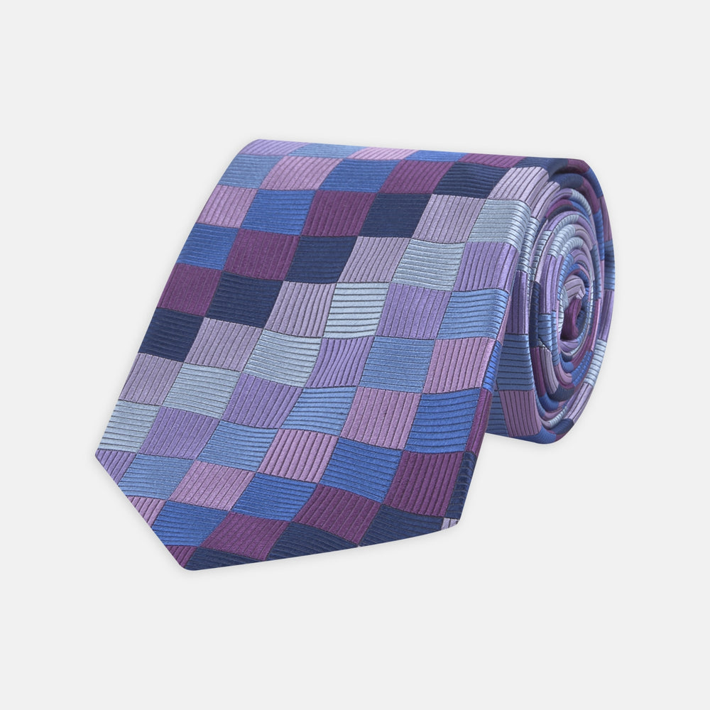 Purple and Blue Chequerboard Silk Tie