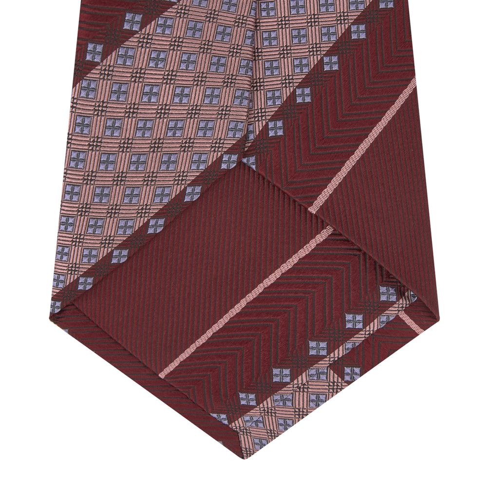 Burgundy and Pink Striped Geo Silk Tie
