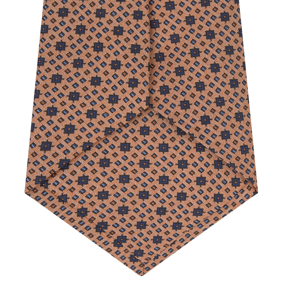 Light Orange Geometric Silk Tie