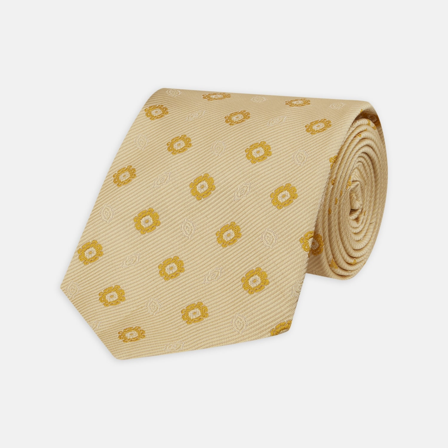 Soft Yellow Floral Jacquard Stripe Silk Tie