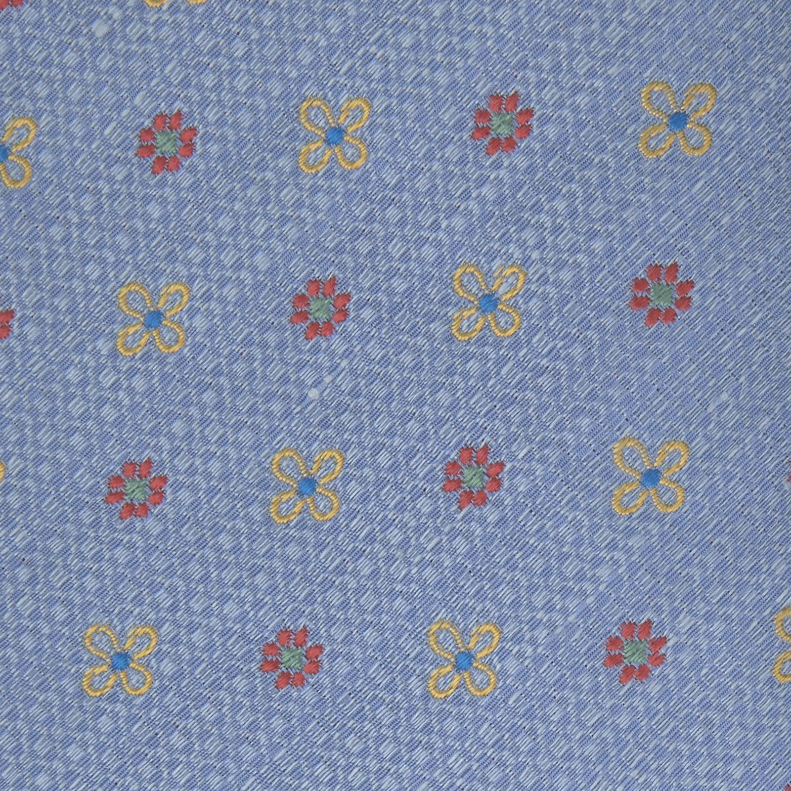 Sky Blue Floral Silk and Linen Blend Tie