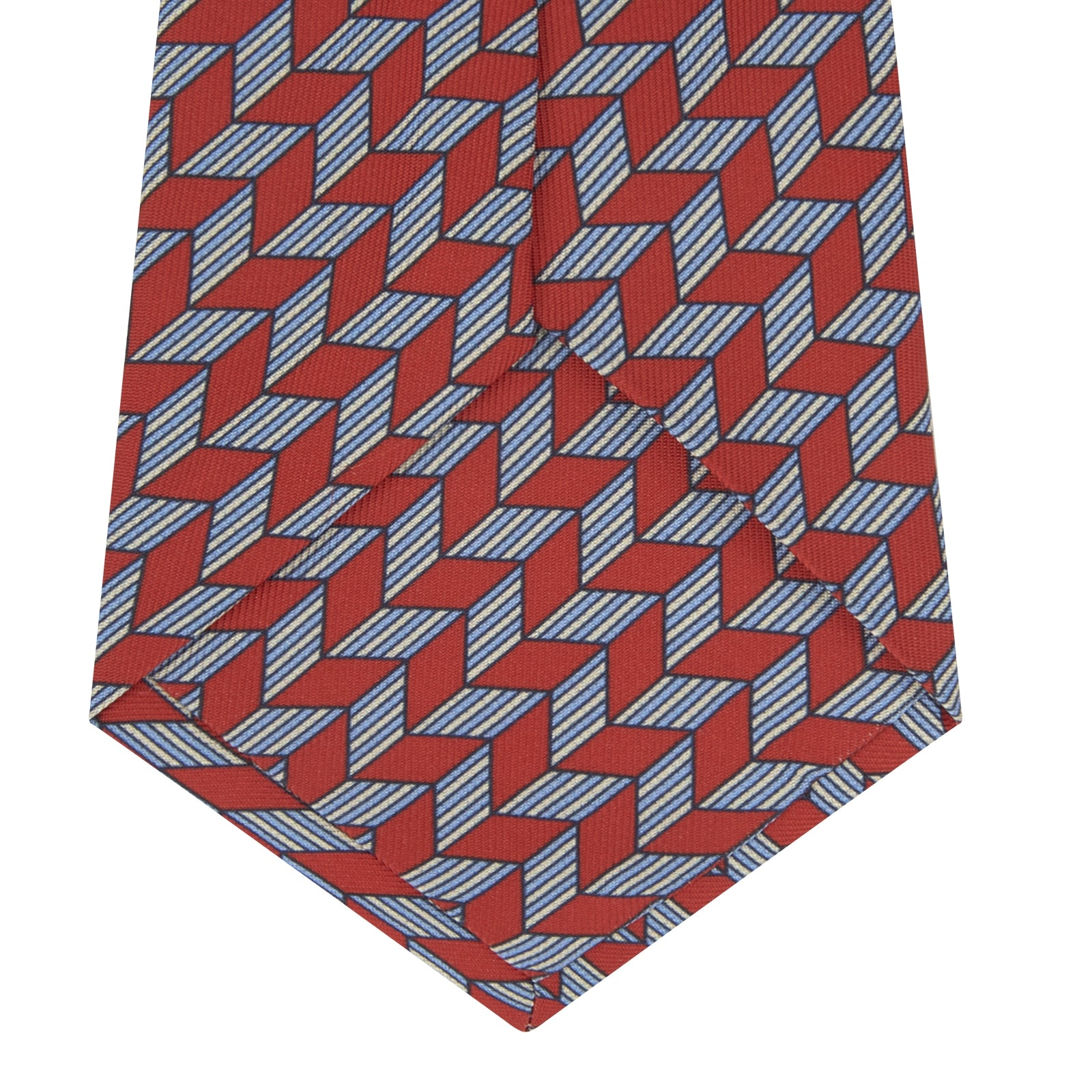 Red and Blue Arrow Printed Silk Tie