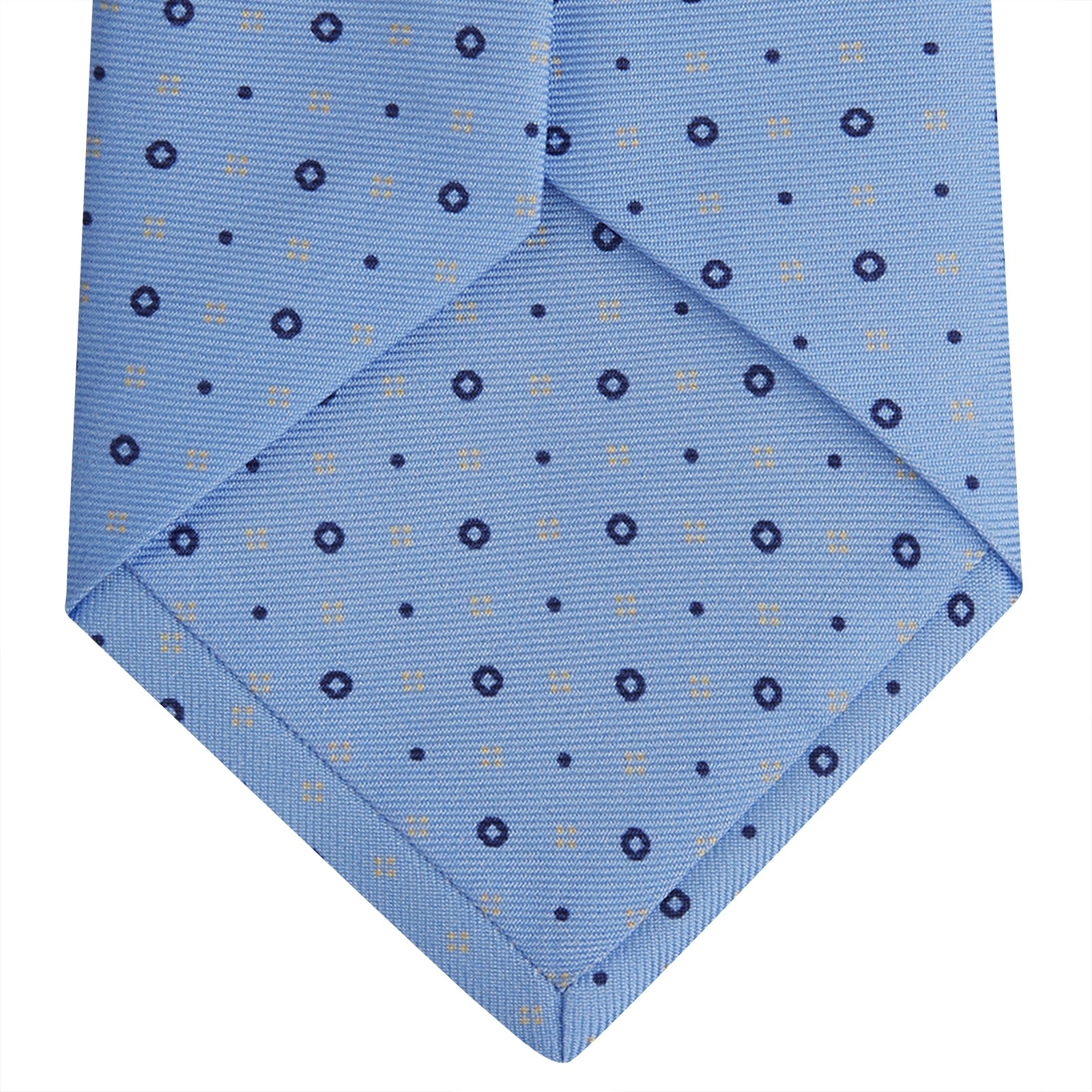 Light Blue Cross Dots Printed Silk Tie