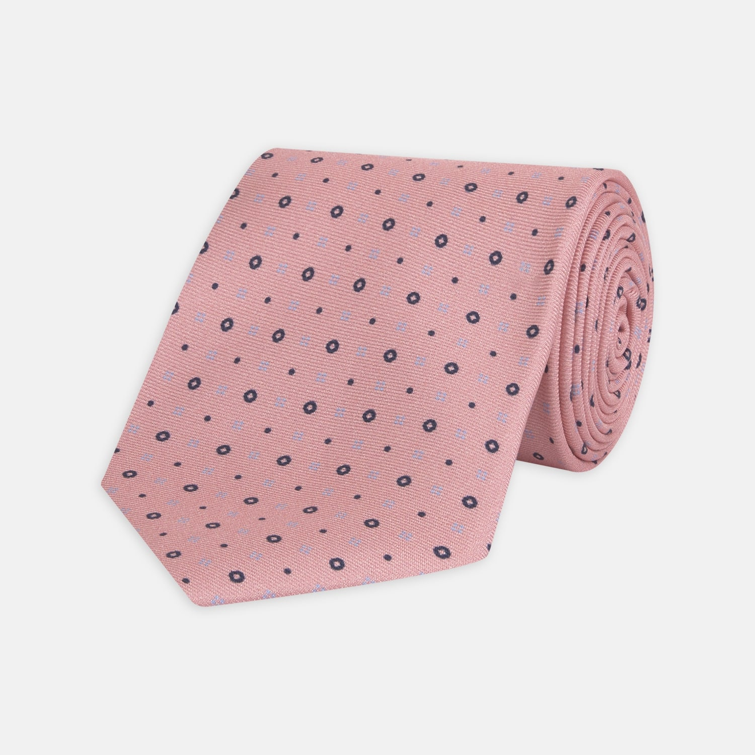 Pink Cross Dots Printed Silk Tie