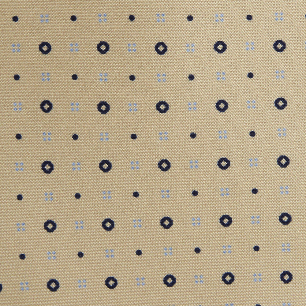 Yellow Cross Dots Printed Silk Tie