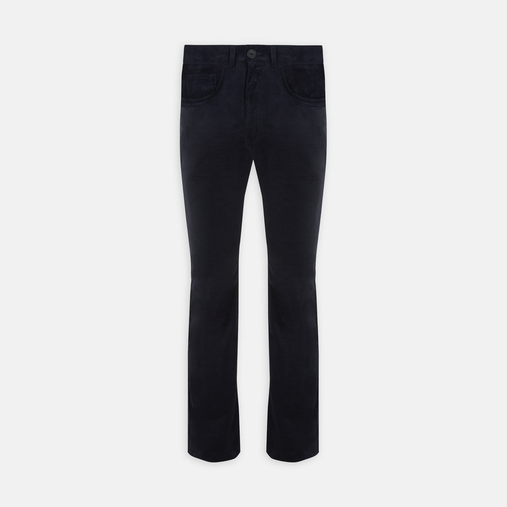 Navy Cotton Cashmere Corduroy 5-Pocket Trousers