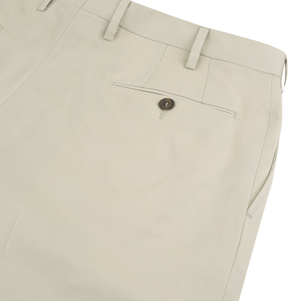 Stone Cotton Twill Pleated Trousers