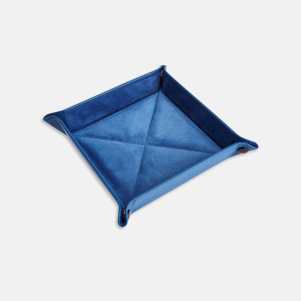 Royal Blue Square Leather Travel Tray